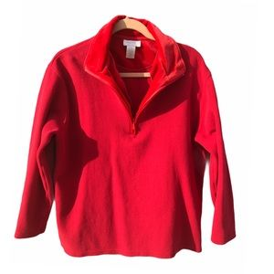 Studio Works Red Knit Pullover with velvet collar